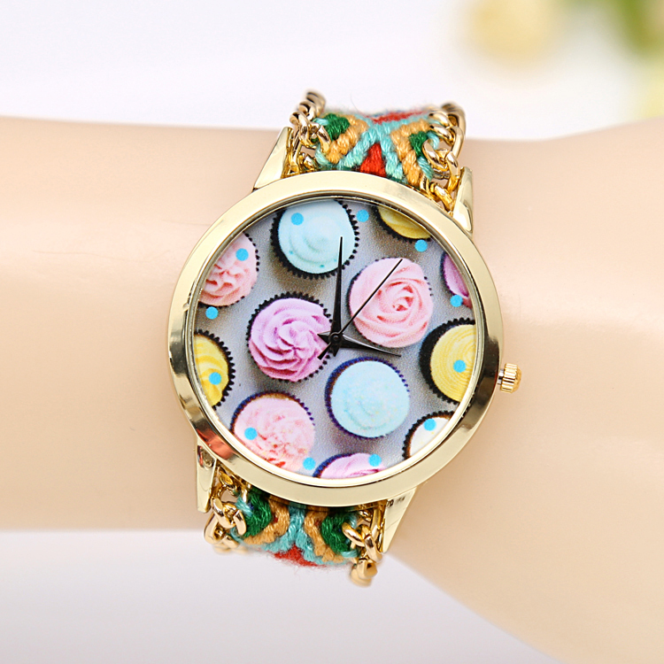 2015 New Arrive Cool Summer Ice Cream Hand-Woven Bracelet Watch Sweet Girl Student Casual Quartz Wristwatch Women Dress Watch(China (Mainland))