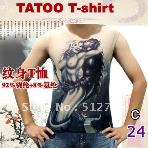 Beauty And The Beast Design Wholesale Tattoo T Shirt Tigh