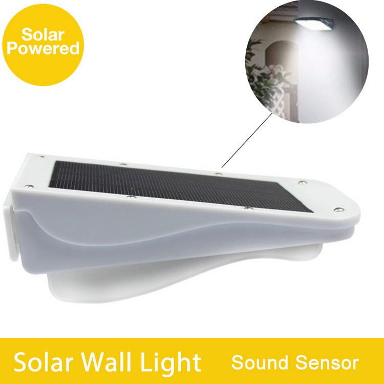 30 LED Solar Powered Lamp Light With Sound Sensor For Outdoor Wall Garden Yard Street Lighting ...