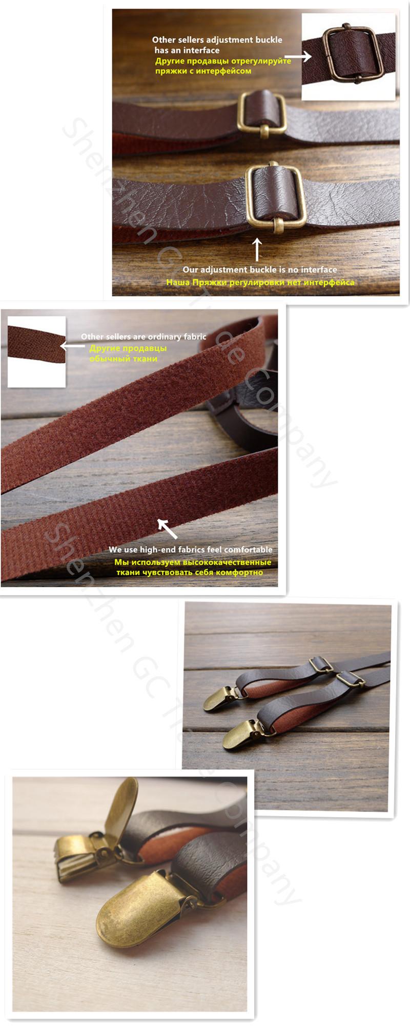 retro leather strap leather suspenders clip braces men general  england cloТонкийg  recessionista suspenders for men and Женщины