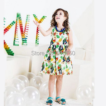 Hot Sale 2015 Summer Girl Dress Casual Sleeveless Kids Dresses for Girls Animal Children Dress with Necklace Baby Princess Dress
