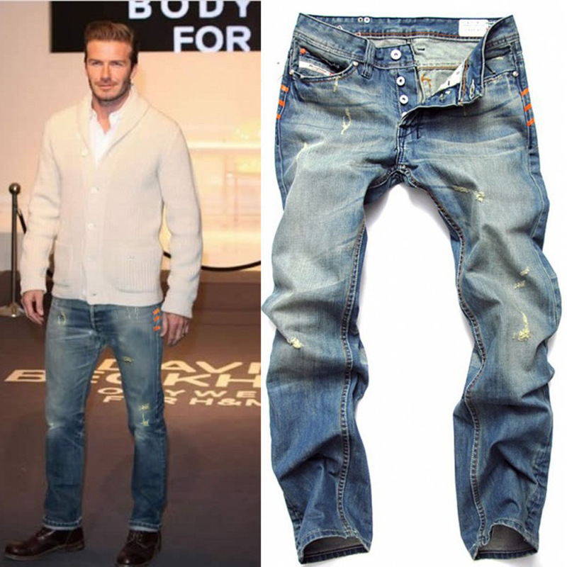 Famous Brand Men Hole Jeans 2015 Summer Style Mens Washed Button Denim Pants Ripped Jeans For Men Hip Hop Jeans Large Size 40 42(China (Mainland))
