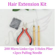 HOT! 1 bottle/200pcs Micro Links/Beads+2pcs Pulling Needle+1pc 3 holes plier Hair Extensions Tool kit(China (Mainland))