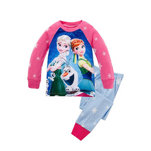 knitted cotton 100% toddler kid pajamas set with cute cartoon pattern princess sisters type B