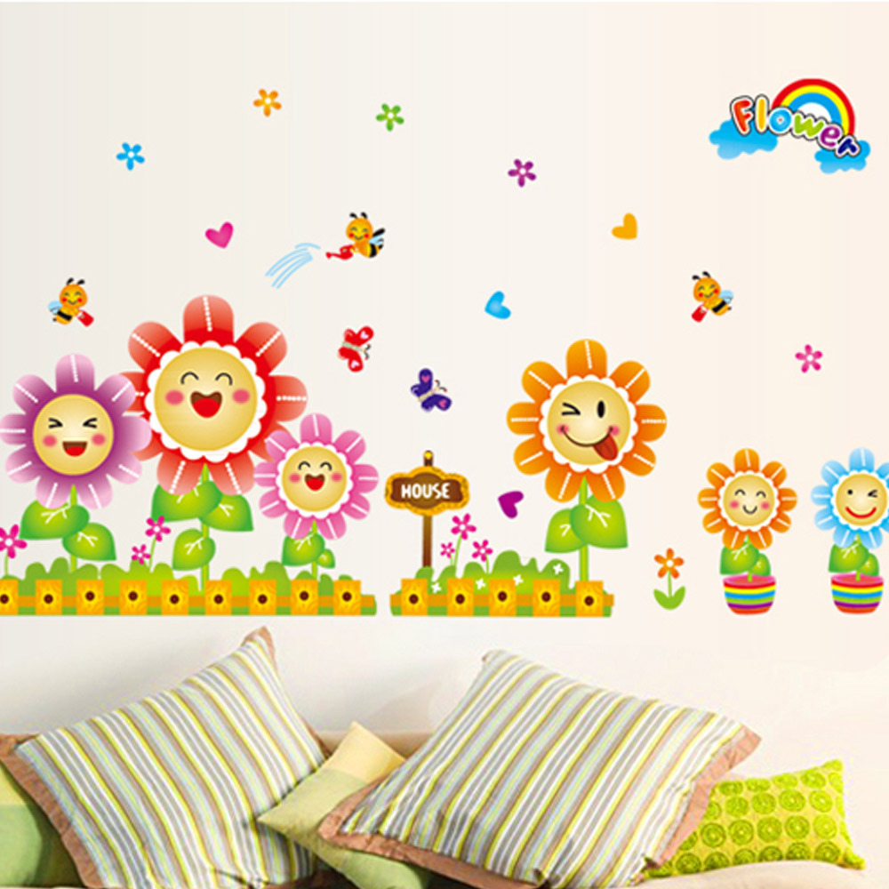2015 cartoon sun flower kindergarten children bedroom for Baby decoration wall