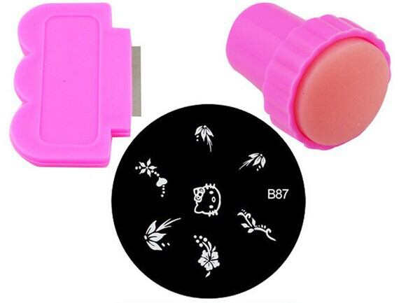 Hot Sale 1pcs Round Stainless Steel Image Plate + 1 Scrap Nail Art Stamping Template Set + 1 stamp(China (Mainland))