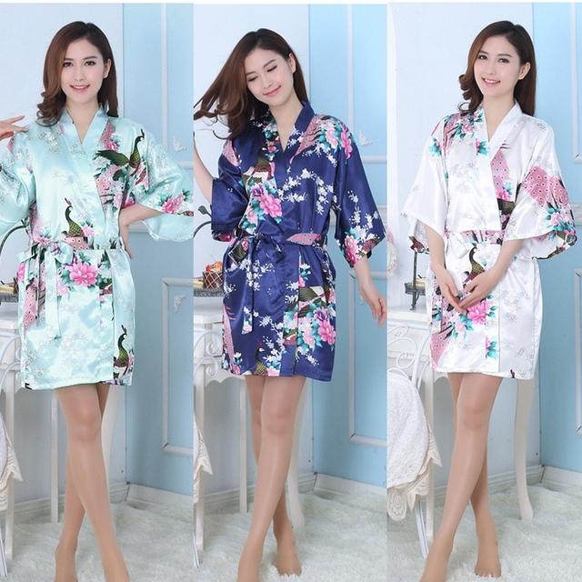 Шелковый атлас доставка-свадьбы невеста-невесты халат цветочные халат с кимоно одеяние ...