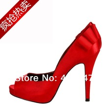 Free shipping series  fish mouth red satin wedding shoes bride heels shoes black dress shoes 14 yards(China (Mainland))