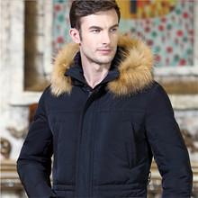 men winter jacket 2016 goose men's down-jacket long design ultra long plus size thicken large fur collar winter jacket for men(China (Mainland))