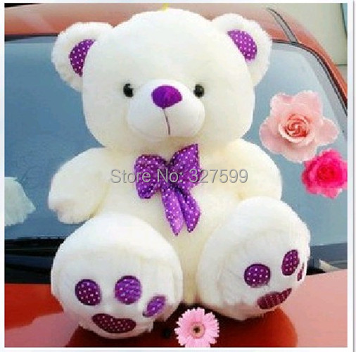 Free shipping Lovely purple bow collar Teddy segment hugs the bear greatly lovers bear plush toy Valentine bear 60cm(China (Mainland))