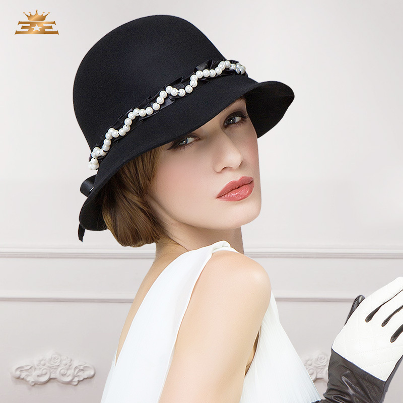 2014 shining pearl ladies new winter hat wool felt hat ceremony meeting party bucket hat short brim chapeus(China (Mainland))