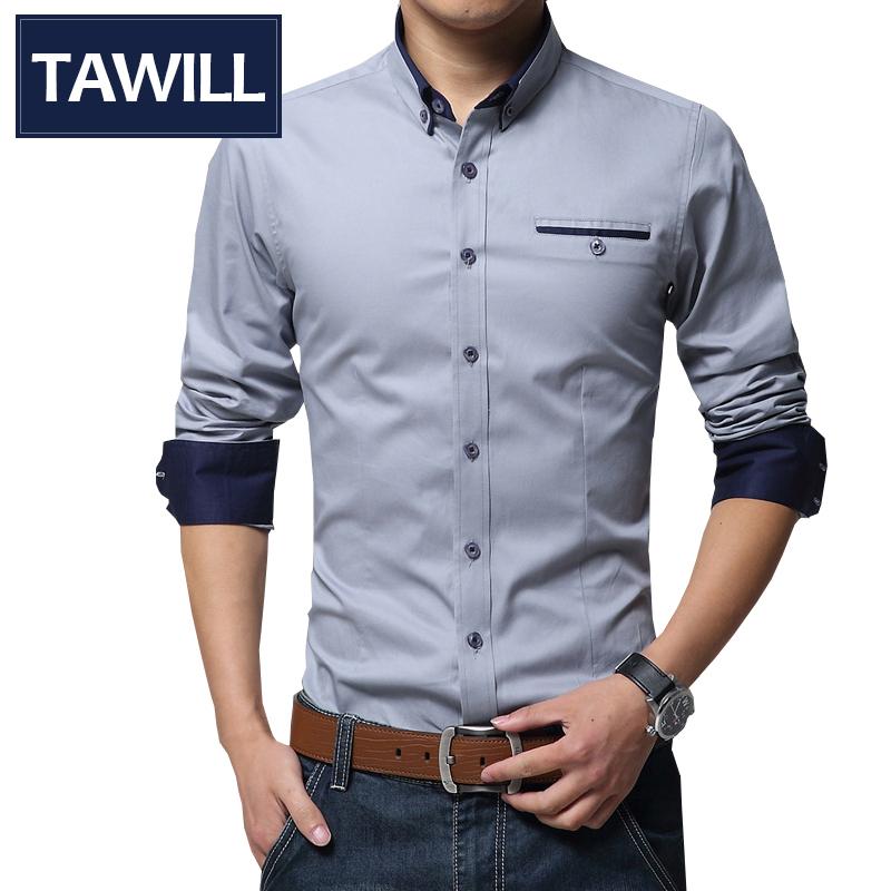 где купить Мужская повседневная рубашка TAWILL Slim Fit 2015 Camisa Masculina 5XL SHIRT154117 по лучшей цене