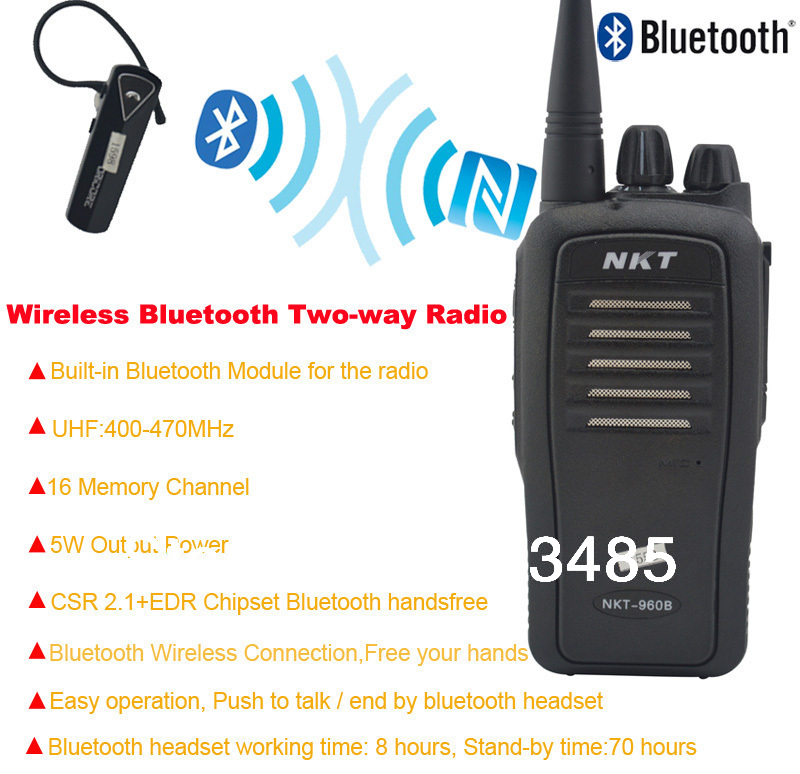 Bluetooth Walkie Talkie UHF 400 470MHz 16CH 4W Built in ...