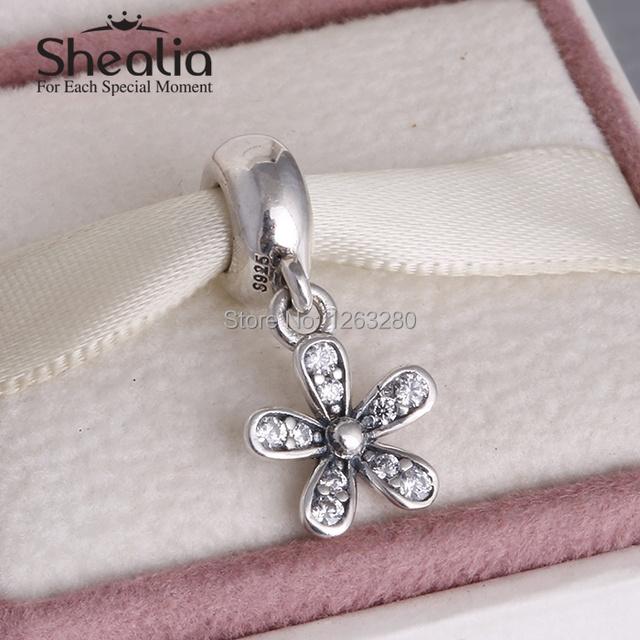 Весна коллекция 925 чистое серебро маргаритка мотаться подвески-талисманы кулон с прозрачный cz подходит своими руками браслеты SH0618
