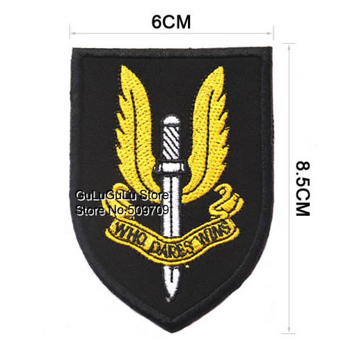 The British SAS Badge Embroidered Velcro Patch, The British Force Logo Fabric Badge, Children DIY clothes Accessories(China (Mainland))