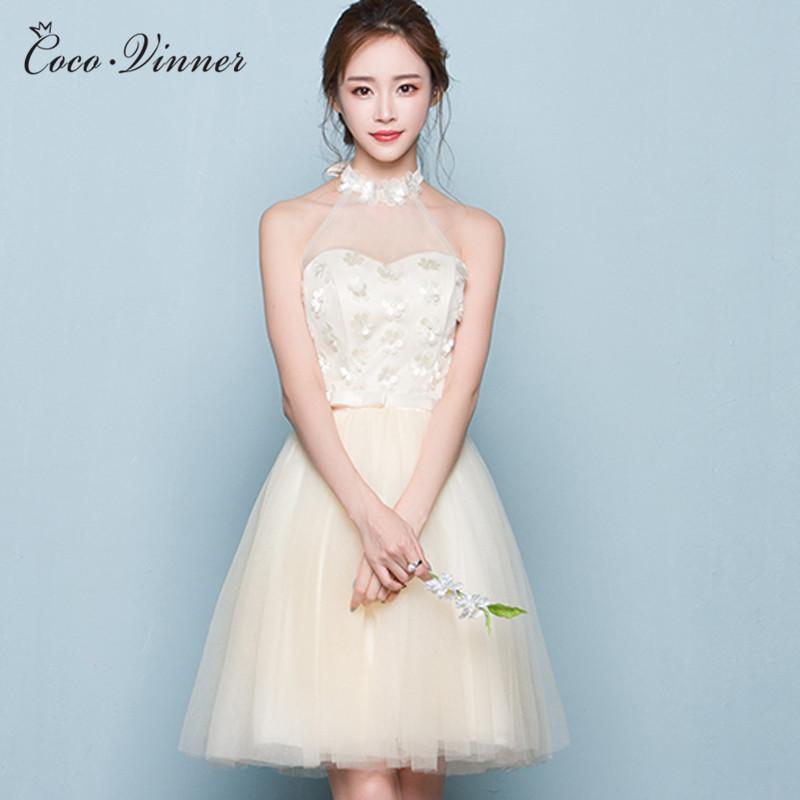 C.V 2017 NEW Short Bridesmaid dresses champagne color bridesmaid formal dress sister dress knee length sweetheart flower dresses(China (Mainland))