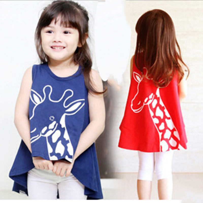 Girls Children Summer Clothing Sleeveless Dresses Kids Cotton Dress Fawn Fishtail Style Princess Red Blue robe fille enfant(China (Mainland))