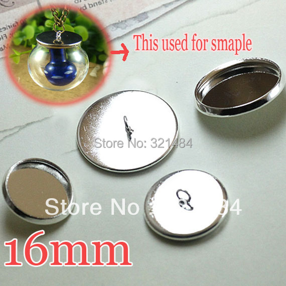 Rhodium plated 500pcs Caps Covers For glass bottle vials pendant DIY 16mm Blank Base Setting WHOLESALE