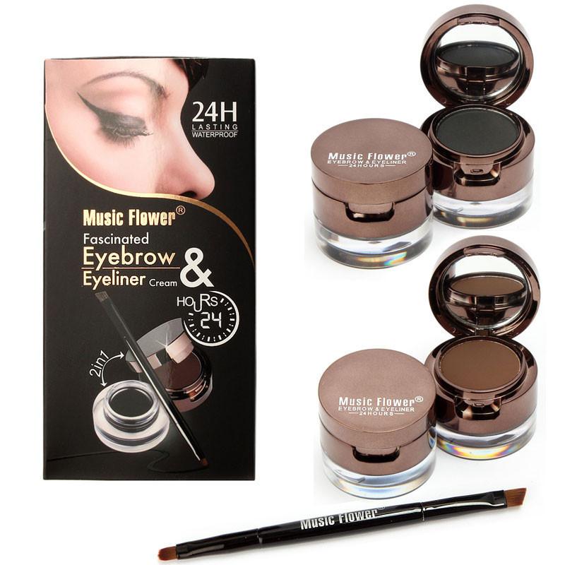 Pro 4 In 1 Eye Makeup Set Gel Eyeliner Brown Black Eyebrow Powder