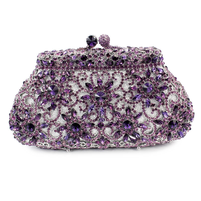 noble purple color match wedding dress style crystal evening bag fix iphone (8626A-P)(China (Mainland))
