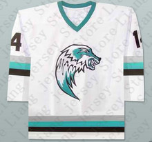 #14 The Lansing Ice Wolves Derek Thompson Minor League Hockey Jersey white or Custom any number name Mens Stitched jerseys(China (Mainland))