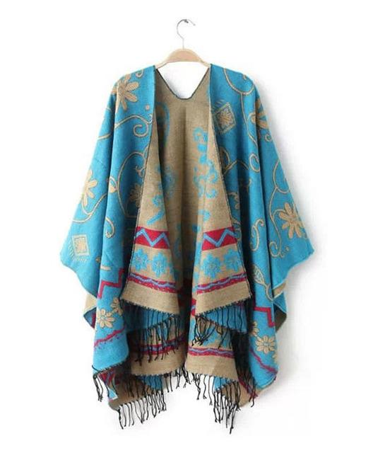 Бренд мода женщин осень зима теплая цветочным узором разрез полушерстяные пледом плащ пончо кабо-пальто кисточкой шали шарф