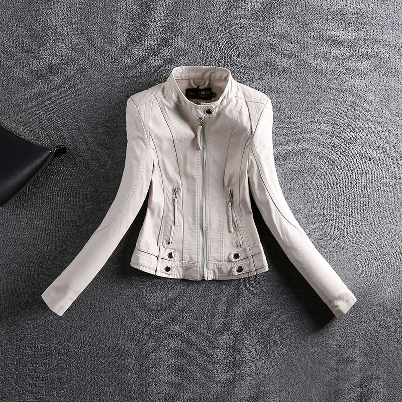 M L XL 2XL 2017 women's new small Leather Slim short coat jacket size locomotive Korean PU stand collar jackets