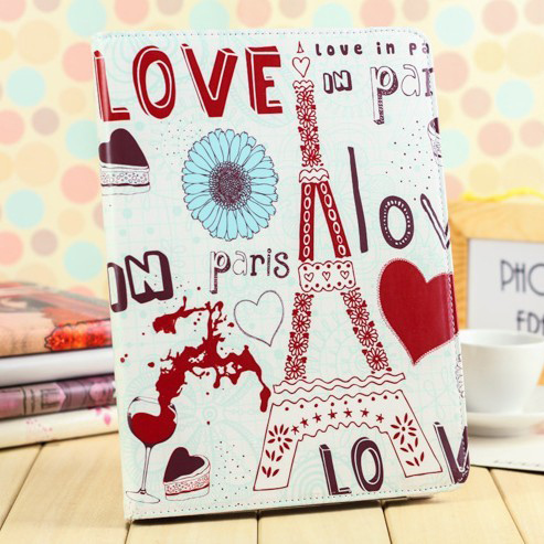 High Quality Pink Girl Vintage Paris Eiffel Tower Leather Smart Stand Holder Cover Case For Ipad 5 for New ipad Air(China (Mainland))