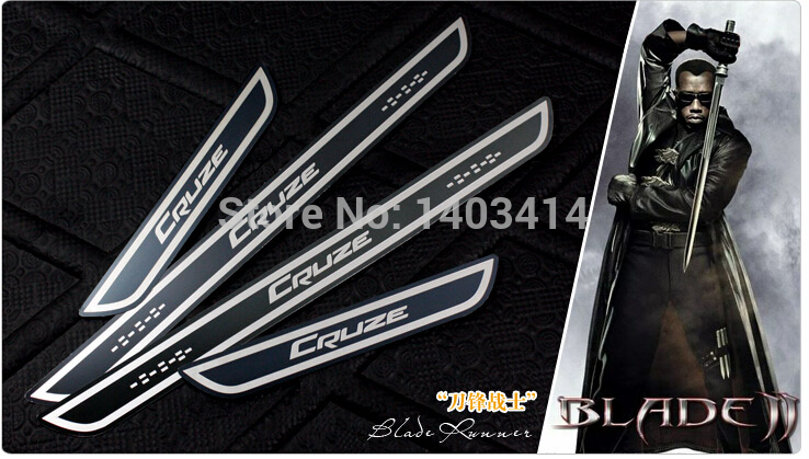 dor sill for Cruze etching process antioxidant black slim design STYLE from GM 's North American 4pcs/set(China (Mainland))