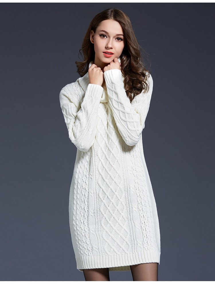 38d8001b6 Atacado-inverno camisola jumper mulheres manga comprida camisola de gola  pulôveres vestido de camisola de lã branco azul marinho Outono camisola de  malha ...