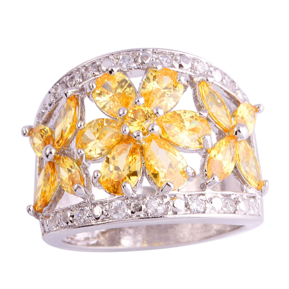 AAA CZ Gems Jewelry Golden Yellow Citrine 18K White Gold Plated Silver Ring Size 7 8 9 10 Free Shipping Wholesale(China (Mainland))