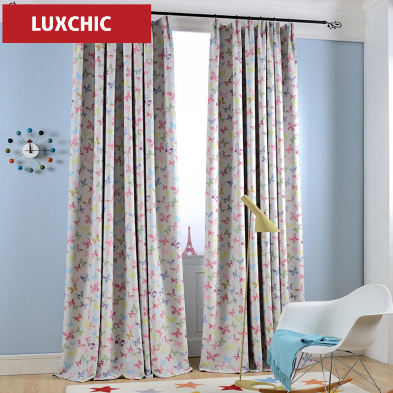 Owl Kids Curtains for Children Blue Thick Printed Blackout Curtains Bedroom Window Curtains Living Room Ikea Kids Curtains(China (Mainland))