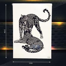 Leopard Print Temporary Tattoo Women Sexy Body Art Arm Tattoo Sleeve Wall Sticker 21x15CM Black panther Skin Tattoo Jaguar Decal