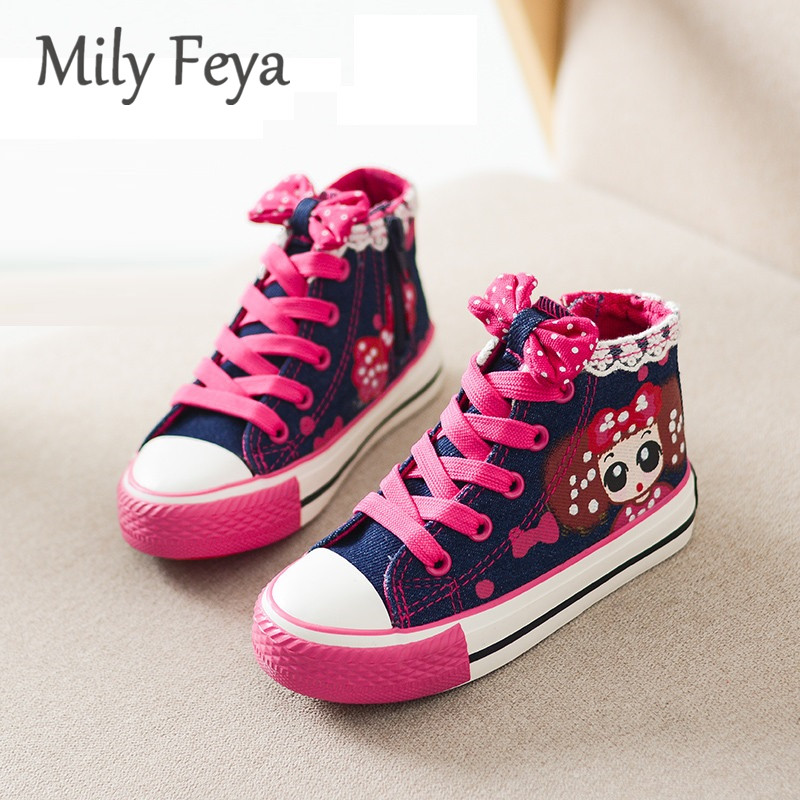 New 2016 Girls casual Shoes Autumn teen Girls Canvas high top Sneakers denim Flats lace up Boots for girls zapatos zapatillas(China (Mainland))
