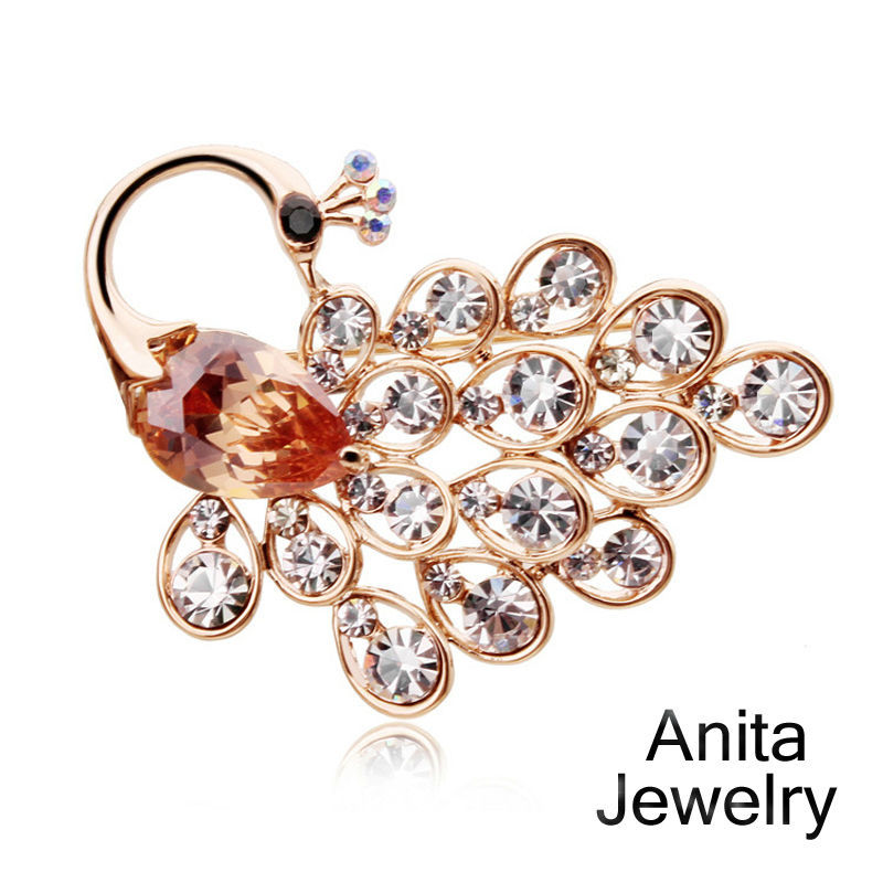 New 2015 women's fashion brooches,Elegant peacock brooch,High quality rhinestone,Brand design jewelry,Banquet accessories ZY026(China (Mainland))