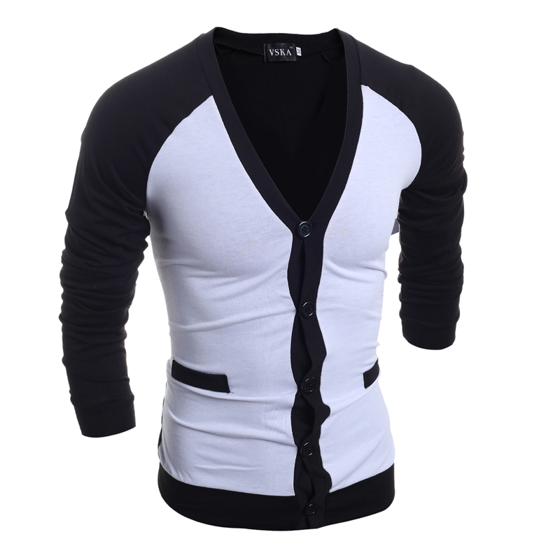 2015 novos homens chegada do Sweater fina Casual V - neck Slim Fit mangas compridas de malha homens camisolas Pullovers M ~ XXL