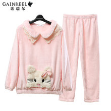 Winter song Riel dream Sangfei cartoon outer wear flannel nightgown sweet long sleeved tracksuit suit