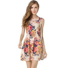 Free Shipping top sale 2015 summer24 colors women s sleeveless flower printed vest dress WL2204