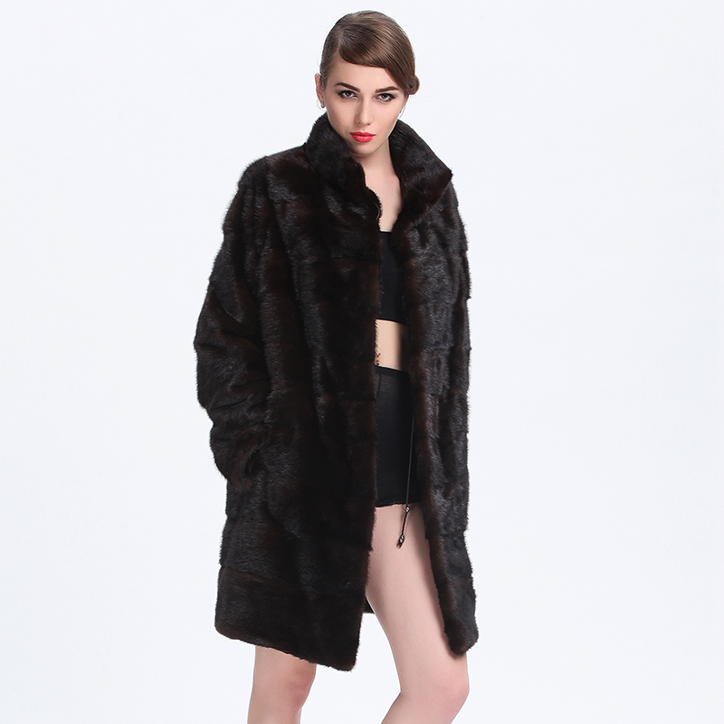Knitted Mink Fur Coat 2015 New Style Fashion Natural Fur Parkas Winter Luxury Ladies Mink Coats Long Warm Knitted Mink Fur Coat(China (Mainland))