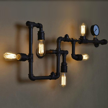 Loft Vintage Water Pipe Wall Lamp 5 Lights Bar Restaurant RH Iron Industrial Style E26 E27 Edison Bulbs Retro Sconce - Sinolite Group Co., LTD store