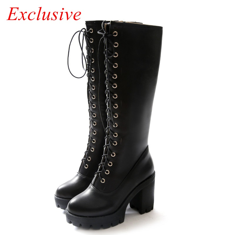 Thick With Knee Boots 2015 Latest Short Plush Winter Long Boots Cross Straps Zip Womens Boots Winter Thick with Knee Boots<br><br>Aliexpress
