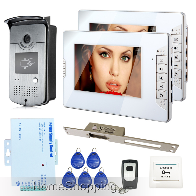 FREE SHIPPING 7 inch Video Intercom Door Phone System 2 White Monitors 1 RFID Access Reader Camera Electric Strike Lock In Stock(China (Mainland))