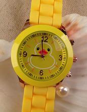 Pato amarillo silicón de la jalea relojes Unisex del cuarzo de ginebra relojes mujer niñas moda Casual Watch directo de China