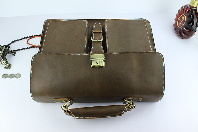 New Men's Business Bags Crazy Horse Leather Briefcase Fashion