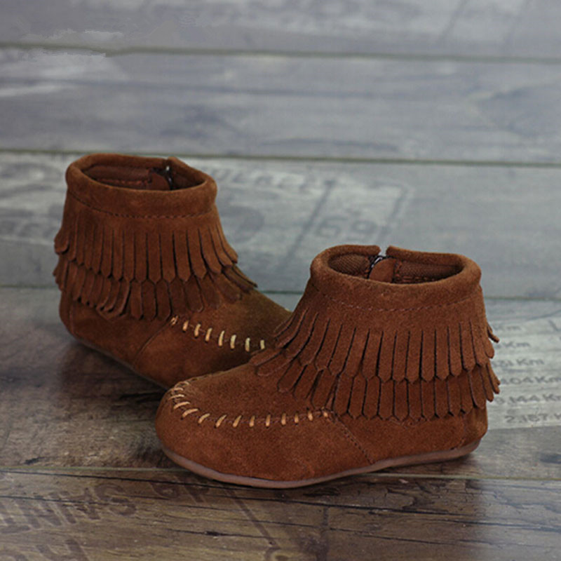 2016 Toddler Girls Shoes Brand Design Double Tassels Kids Boots Fashion Genuine Leather Fringe Boots Ankle Boys Shoes(China (Mainland))