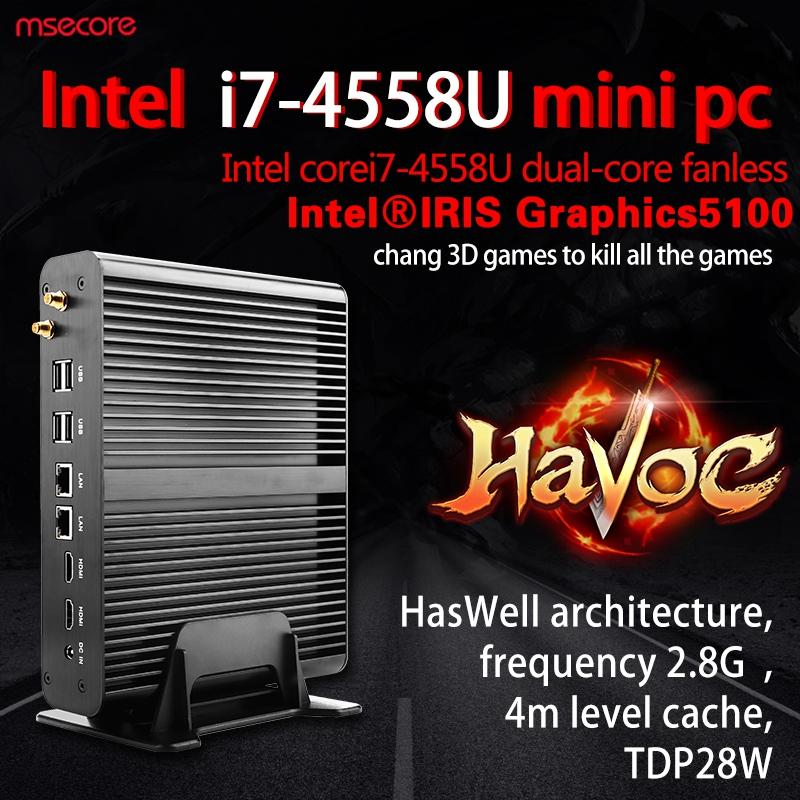 Fanless Intel I7 4558U Mini PC NUC Windows 10 Desktop Computer stick pc barebone system thin client iris5100 Graphics 300M WiFi(China (Mainland))