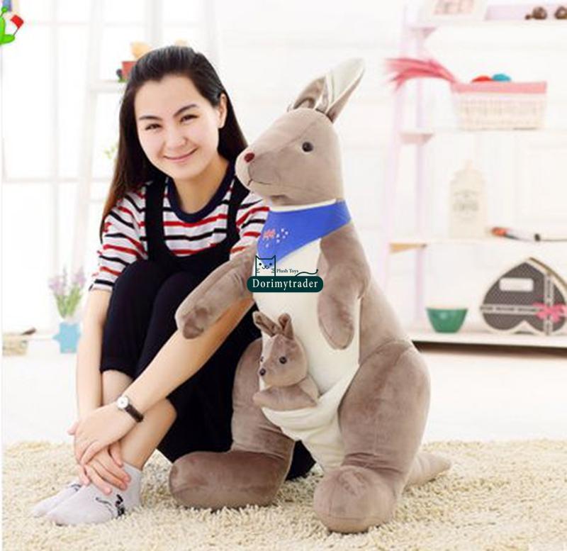 Dorimytrader New 35'' / 90cm Giant AU Kangaroo Plush Stuffed Animal Toy, 2 Colors 2 Size And Nice Gift, Free Shipping DY60175(China (Mainland))