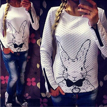 2014 New Autumn Winter Women Casual Pullovers Plus Size Long sleeve Solid Color Printed Cute Bunny Zipper Sweatshirt Coat(China (Mainland))