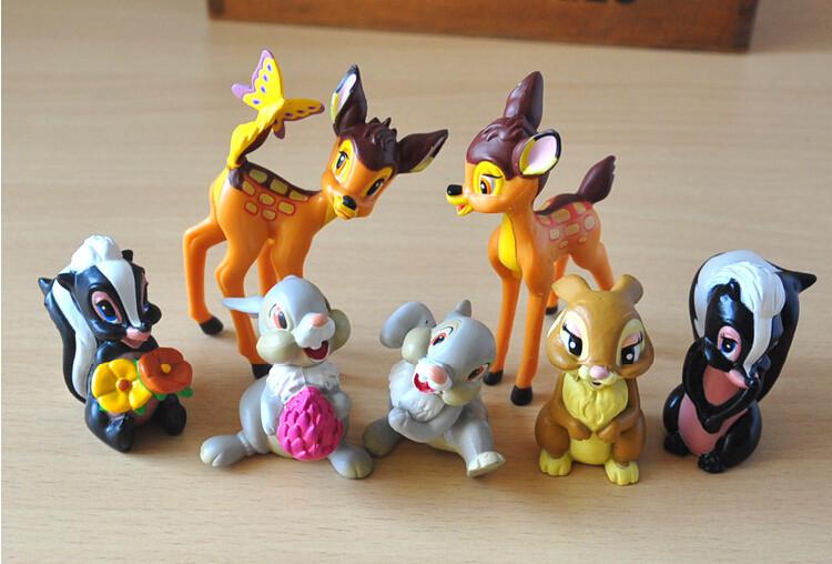 7PCS//lot Bambi Thumper Flower BAMBI RABBIT BUNNY Figure Toy Doll Cake topper