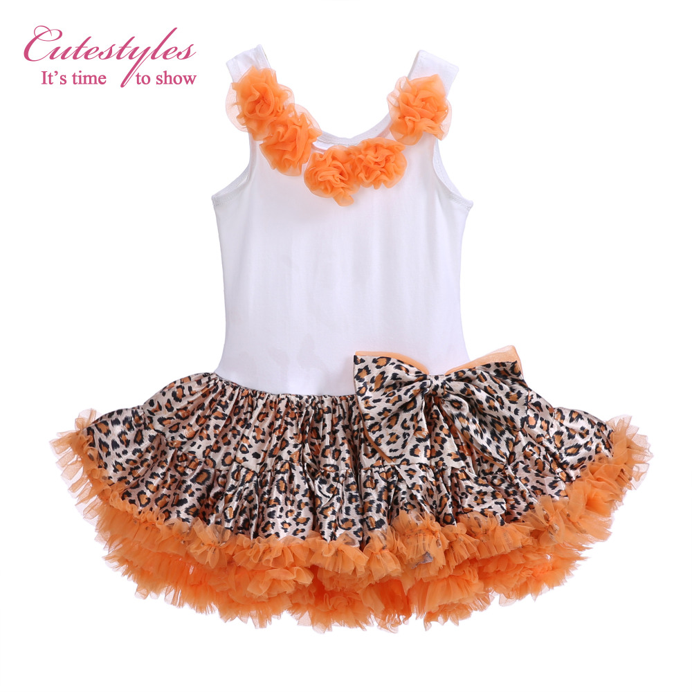 Cutestyles Girls Summer Leopard Printing Dresses Orange Flowers Ball Gown Princess Party Bow Dress Baby Clothing TD20503-04(Hong Kong)